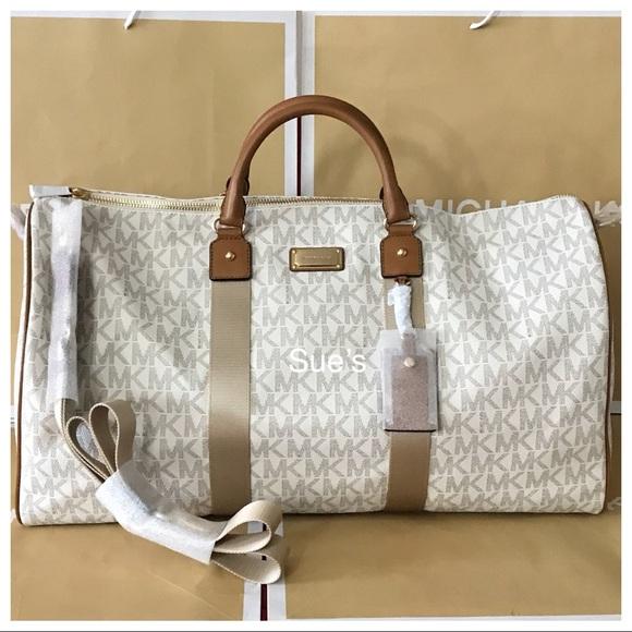 a75595074bdbe7 Michael Kors Bags | Nwt Mk Jet Set Travel Xl Duffle Bag Vanillaacorn ...